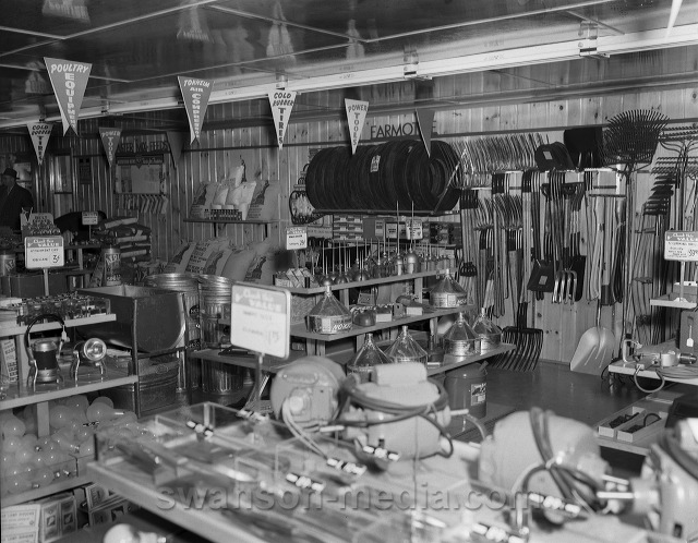 Interior of a supply store for farmers, circa 1950.